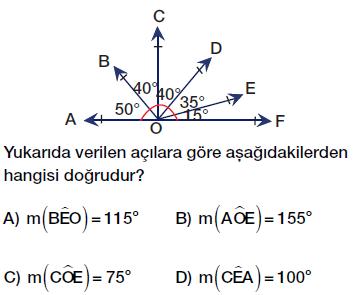 6 Sınıf Açılar Testi Çöz
