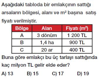 6. sınıf arazi ölçme birimleri testi çöz, pdf indir