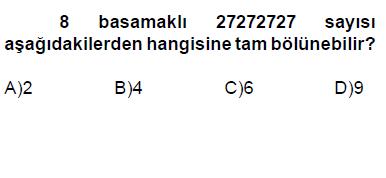 6. sınıf bölünebilme cevaplı testi çöz