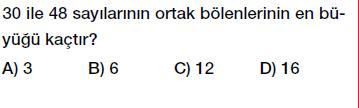 6. sınıf ortak bölen ortak kat testi çöz, indir
