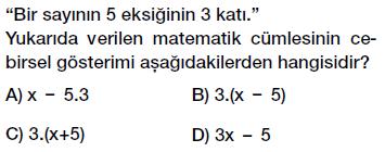 6. Sınıf Cebirsel ifade yazma testi çöz