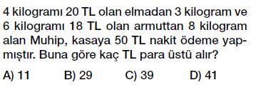 6. sınıf doğal sayı problemleri testi çöz indir