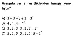 6.sınıf üslü ifadeler, üslü sayılar testi çöz