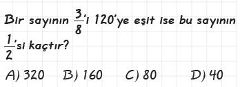 6. Sınıf Kesir Problemleri testi çöz