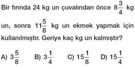 6. sınıf kesir problemleri testi çöz indir