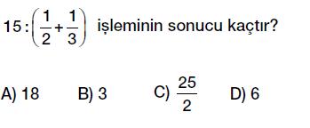 6. sınıf kesirler bölme işlemi testi çöz indir