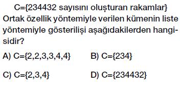 6. Sınıf Kümelerin Farklı Gösterimleri Testi Çöz