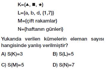 6. Sınıf kümenin elemanı ve eleman sayısı testi çöz indir