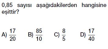 6.sınıf ondalık gösterim, ondalık kesirler bölme kesir ilişkisi testi çöz indir