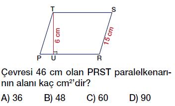 6. Sınıf paralelkenarın alanı testi çöz