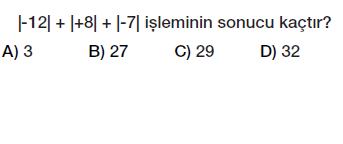 6.sınıf tam sayılar mutlak değer testi çöz