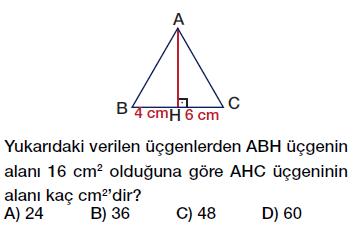 6. Sınıf Üçgenin Alanı Testi çöz, pdf indir