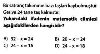 7. Sınıf Denklemler - Denklem Kurma Testi Çöz