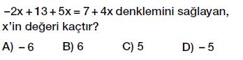 7. Sınıf Denklem ve Eşitlik Konusu Denklem Çözme testi çöz, pdf indir
