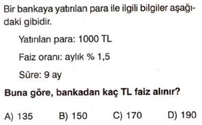 7. sınıf faiz problemleri testi çöz