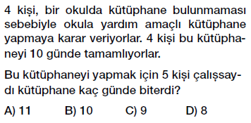 7. Sınıf Oran ve Orantı problemleri testi çöz, pdf indir